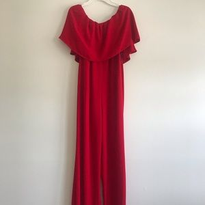 Strapless Red Jumpsuit